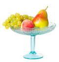 A bowl of fruit on white background Royalty Free Stock Images