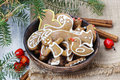 Bowl of gingerbread cookies traditional christmas recipe setting Royalty Free Stock Photography