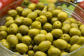 Bowl of green olives Stock Photography