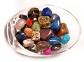Bowl healing crystals gemstones spa Stock Photo