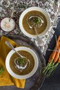 Moroccan brown lentil soup with spiced yogurt drizzle Royalty Free Stock Photo