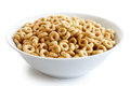 Bowl of honey cheerios. Royalty Free Stock Photo
