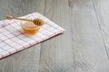 Bowl of honey with honey stick Royalty Free Stock Photo