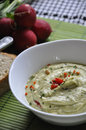 Bowl hummus mixed green herbs Stock Images