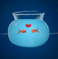 Bowl illustration of two fishes in love Royalty Free Stock Photography