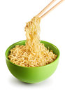 Bowl Of Instant Noodles  On Wh...