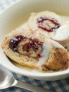 Bowl of Jam Roly Poly and Custard Stock Images
