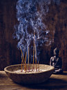 Bowl joss stick buddha wood with sticks lit on and Royalty Free Stock Image