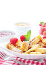Bowl with kaiserschmarrn kaisersmarrn berries and fruit sauces Royalty Free Stock Photography