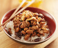 Bowl of kung pao chicken with chopsticks Royalty Free Stock Photo