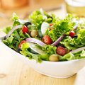 Bowl of leafy green salad with olives tomatoes and cucumber Stock Image