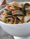 Bowl of Manhattan Clams with Hot Chilli Sauce Stock Image