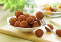 Bowl of meat balls one on fork Royalty Free Stock Images