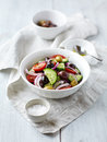 Bowl mediterranean style salad marinated olives Royalty Free Stock Photography