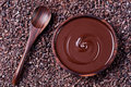 Bowl of melted chocolate and wooden spoon on a crushed raw cocoa beans, nibs background. Copy space Top view Royalty Free Stock Photo