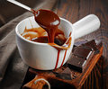 Bowl of melted chocolate Royalty Free Stock Photo