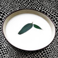 Bowl with milk and leaf Stock Photo