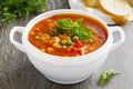 Bowl of minestrone soup Royalty Free Stock Photo