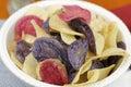 Bowl of Mixed Potato Chips Close-Up Royalty Free Stock Photo