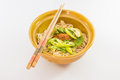 A bowl of noodle with chilly and vegetable Royalty Free Stock Photography