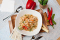 A bowl of noodles with shrimps Royalty Free Stock Photo