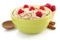 Bowl of oat flake on white background Stock Image