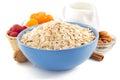 Bowl of oat flake on white background Royalty Free Stock Photo