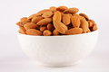 Bowl of Organic almond nuts Royalty Free Stock Photo