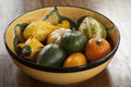 Bowl of Ornamental Gourds Stock Images