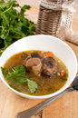 Bowl ox tail meat soup barley vertical Royalty Free Stock Image