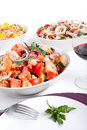 Bowl of Panzanella bread salad Stock Photo