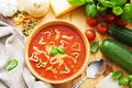 Bowl pasta soup heart shaped pasta ingredients Stock Photo