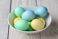 Bowl of pastel easter eggs high angle view a the white is full yellow green and blue dyed on a rustic farmhouse Stock Photography