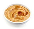 Bowl of peanut butter Royalty Free Stock Photo