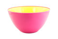 Bowl plastic color pink and yellow on a white background Royalty Free Stock Photo