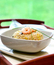 A bowl of prawn, mushroom and egg stir fried rice Royalty Free Stock Image