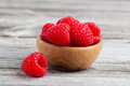 Bowl of raspberries Stock Images
