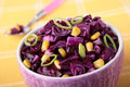 Bowl of red cabbage salad with corn Royalty Free Stock Photo