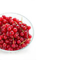 Bowl of red currant isolated on white selective focus square Stock Photography