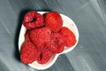 A bowl of red Raspberries Royalty Free Stock Photo