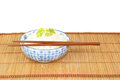 Bowl of rice with chopsticks against white backgrond Royalty Free Stock Photo