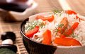 Bowl of rice with sweet peper closeup and fennel Stock Photo