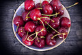 Bowl of ripe cherries Royalty Free Stock Photo