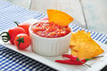 Bowl of salsa with tortilla chips tomatos and chilli pepper on white dish closeup Royalty Free Stock Photo