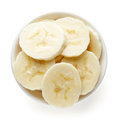 Bowl of sliced banana from above Royalty Free Stock Photo