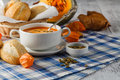 A Bowl Of Spicy Pumpkin Soup, ...