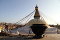 Bowl and stupa dark amnd wite bodnath in kathmandu nepal Stock Photos