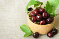 Bowl of sweet cherries on canvas background Royalty Free Stock Images