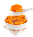Bowl of sweet potato soup asian style dessert cooked with brown rock candy and ginger Royalty Free Stock Image