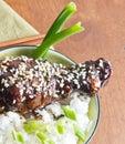 Bowl teriyaki sesame chicken white rice table top Stock Photos